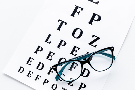Eye test, eye examination. Glasses with transparent optical lenses on eye test chart on white background top view