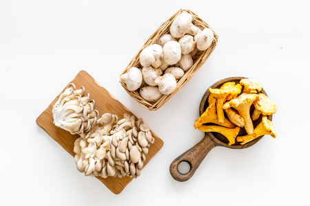 Cook mushrooms concept. Champignons, oysters, chanterelles on cutting board, on frying pan on white background top view