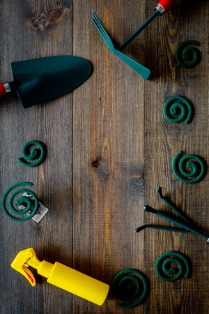 Mosquito protection for garden. Mosquito coil and spray near garden tools on dark wooden background top view copy space Banque d'images - 109207753