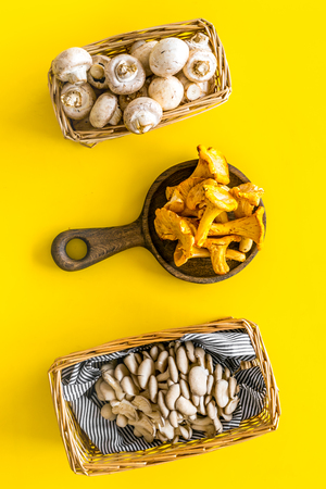 Cook mushrooms concept. Champignons, oysters, chanterelles in basket and on frying pan on yellow background top view
