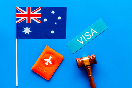 Immigation concept. Text immigation near passport cover and flag. Stock Photo