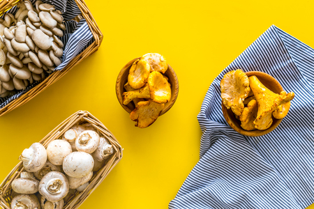 Collect mushroom concept. Champignons, oysters, chanterelles in basket on yellow background top view.