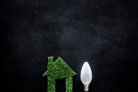 Enegry saving technology concept. House cutout made of green grass near light bulb on black background top view.