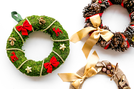 Set of different festive christmas wreath on white background top view.