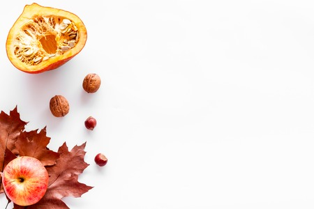 Composition with autumn vegetables and leaves in red and orange colors. Brown dried leaves, pumpkin, apple on white background top view copy space Stock Photo