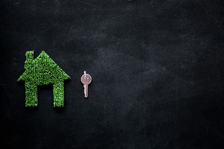 Green eco energy concept. House silhouette made of green grass on black background top view.