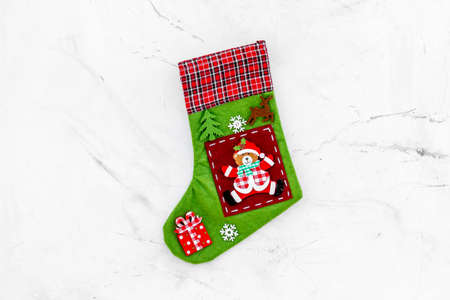 Traditional christmas stocking on white background top view copy space Banque d'images - 112074611