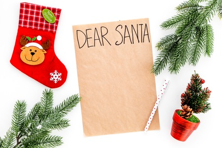 Blank Christmas letter to Santa with Christmas theme decorations around it