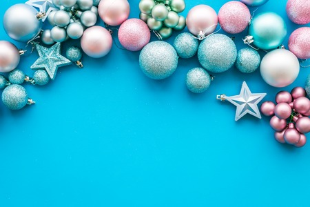Blue and pink balls and stars on blue background Stock Photo