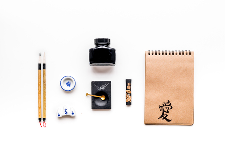 Accessories for chinese or japanese calligraphy on white background