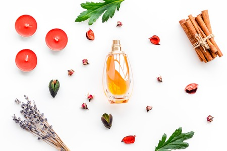 Bottle of perfume near dry flowers, cinnamon and candles on white background Stock Photo