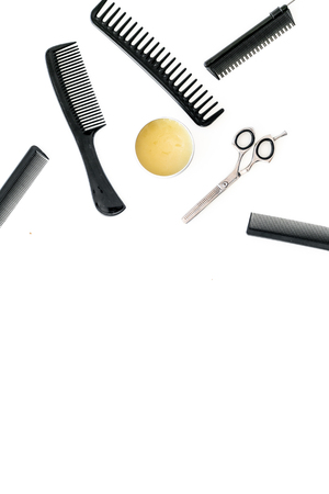 combs for hairdresser hairdresser on white background top view mockup.