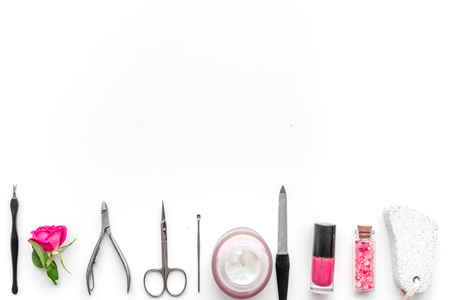 Manicure and pedicure equipment for nail bar set on white table background top view mockup 스톡 콘텐츠