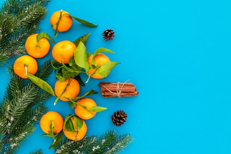 New Year and Christmas Eve with mandarins, fir tree and cinnamon. Citrus winter fruits on blue table background top view space for text Stock Photo
