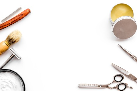 Instruments of male hairdresser barbershop top view on white desk 版權商用圖片