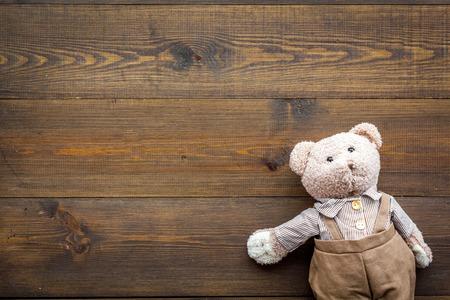 Handmade toys for newborn baby. Teddy bear.