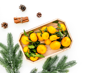 Winter fruits for New Year and Christmas. Tangerines, fir tree and cinnamon on white table
