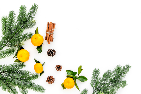 pile of tangerines for New Year and Christmas celebration on white background top view mock up