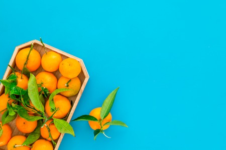 New Year and Christmas Eve with mandarins. Citrus winter fruits on blue background top view space for text Stock Photo