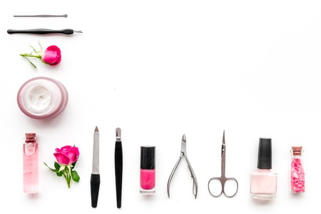 manicure tools set for nail care on white background top view mock up