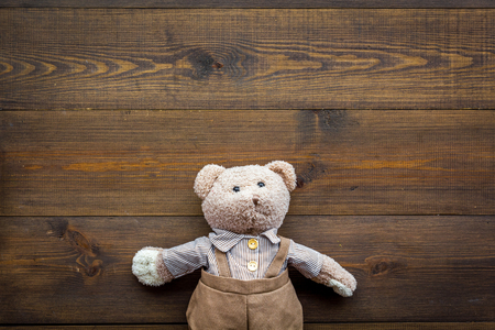 Baby care with craft toys for newborn. Teddy bear. Wooden background top view copy space Stockfoto