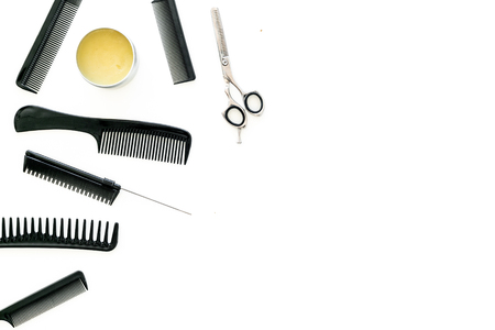 Set of professional hairdresser tools with combs white background top view mock up Stock Photo