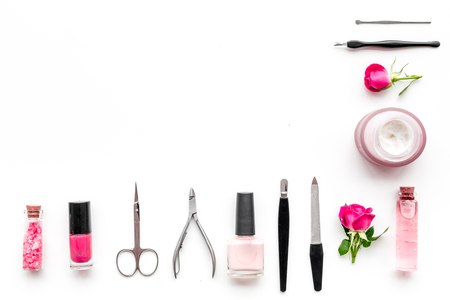 Manicure and pedicure equipment for nail bar set on white background top view mockup 스톡 콘텐츠