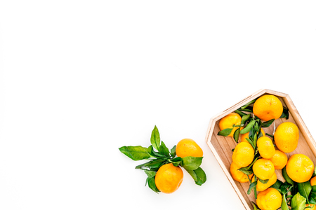 branch of mandarins for New Year and Christmas celebration on white background top view mockup