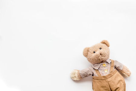 Craft toys for kids. Handmade teddy bear. White background top view mock up