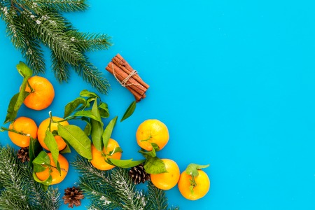 New Year and Christmas Eve with mandarins, fir tree and cinnamon . Citrus winter fruits on blue table background top view space for text Stock Photo