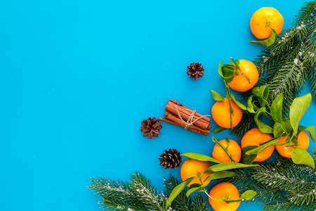New Year and Christmas Eve with mandarins, fir tree and cinnamon. Citrus winter fruits on blue background top view space for text