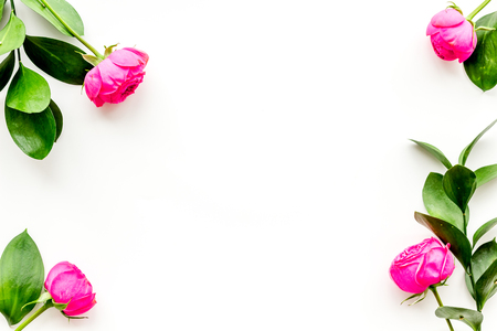 Rose flowers background. Rose roses on white background top view copy space frame