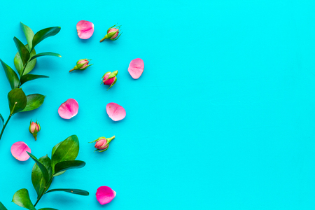 Rose flowers background. Rose roses on blue background top view copy space border