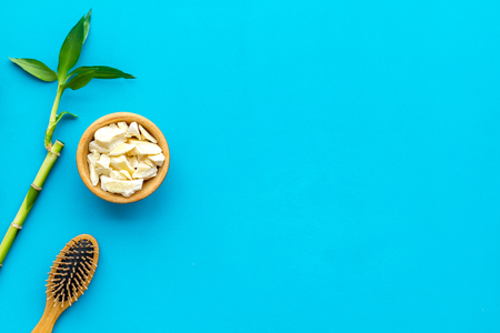 Asian spa background. Spa treatment concept. Bamboo branch, spa cosmetics on blue background top view space for text