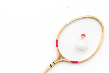 Badminton concept. Badminton rackets and shuttlecock on white background top view copy space closeup Stock Photo