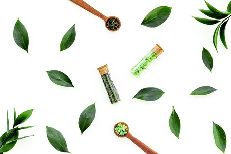 Natural organic cosmetics with tea tree essential oil near fresh tea tree leaves on white background top view pattern