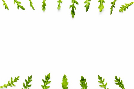 Organic food pattern with green herbs on white background top view space for text