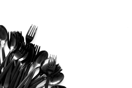 Ecology. Plastic utilization and the Earth protection concept with flatware on white background top view mock up