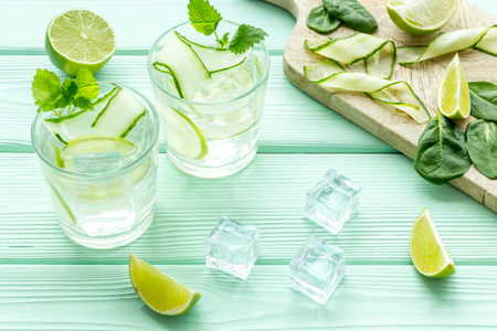 Healthy drinks with lime and ice for summer on mint green background