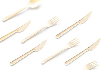 Öko- und Plastiknutzungskonzept mit Besteck auf Draufsichtmuster des weißen Hintergrundes Standard-Bild