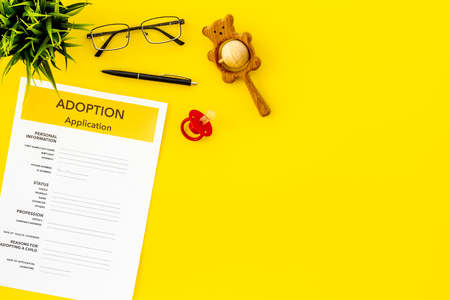 Children care and motherhood set with adoption application, dummy and toy on yellow background top view space for text