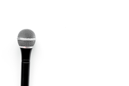 Microphone for blogger, journalist or musician work on white background top view copyspace. Stock Photo