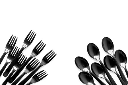 Go green. Plastic flatware for eco and Earth protection concept on white background top view mockup 스톡 콘텐츠