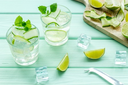 Cold water with ice, cucumber and lime juice for summer healthy drink on mint green wooden table background