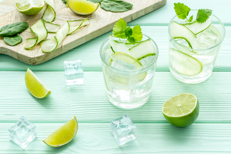 Fresh healthy fruit drink with lime, mint, spinach, cucumber and ice on mint green table background