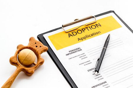 Family together concept. Application to adopt child with toy on white background