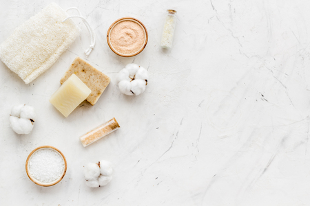 Eco-friendly cosmetics and zero waste set for spa on white background top view mock up