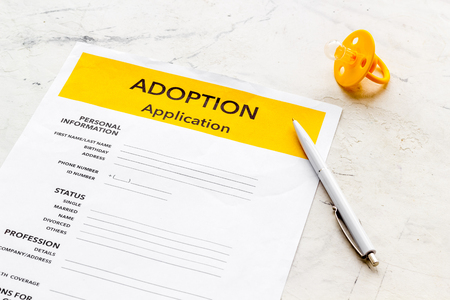 Children care with adoption application and dummy on white background