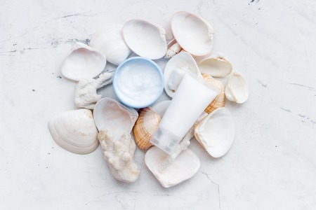 Skin care. Dead Sea cosmetics with natural ingredients on stone table background top view Archivio Fotografico - 121166663