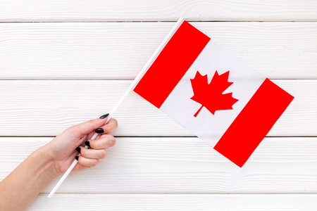 Flag of Canada in hand on white wooden background top view.